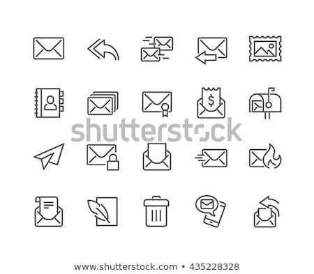 küld · vonal · ikon · vektor · izolált · fehér - stock fotó © rastudio