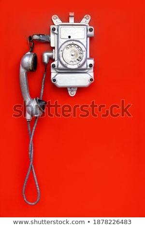 oude · analoog · schijf · telefoon · witte · telefoon - stockfoto © nemalo