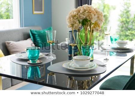 elegáns · teríték · beállítások · étterem · asztal · tányérok - stock fotó © wdnetstudio