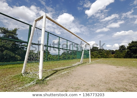 Soccer goalpost and net on practicing pitch Stock photo © stevanovicigor