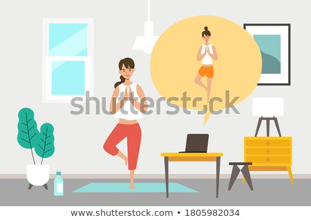 vector flat style illustration of asian woman doing yoga stock photo © curiosity