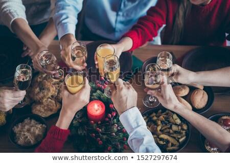Magasról fotózva kilátás boldog barátok pirít asztal Stock fotó © wavebreak_media