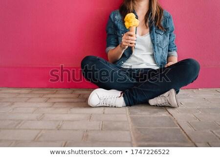 Kadın dondurma oturma plaj kulübe ahşap Stok fotoğraf © wavebreak_media