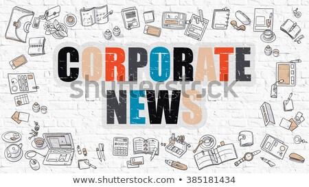 Corporate news bianco doodle stile icone Foto d'archivio © tashatuvango