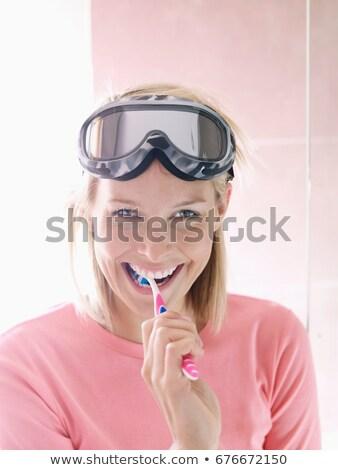 Nő sí viselet fogmosás jókedv nevet Stock fotó © IS2