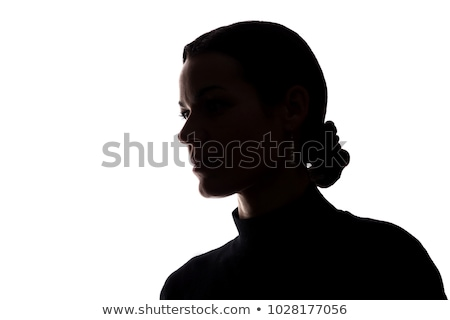 meditating man and woman silhouettes stock photo © sonya_illustrations