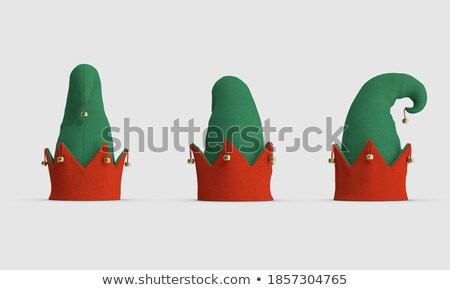 Santa cap and elf. Little Claus assistant. Christmas red hat Stock photo © popaukropa