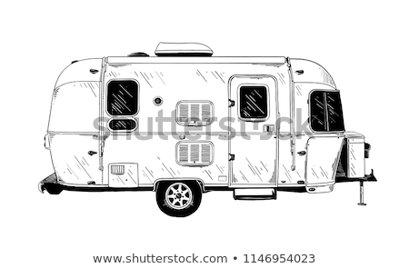 Country traveling poster with camping trailer Stock photo © studioworkstock