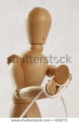 Kezek fából készült szobrocska kötél fehér képernyő Stock fotó © wavebreak_media