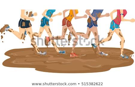 Grup ayaklar çamur maraton çalıştırmak örnek Stok fotoğraf © lenm