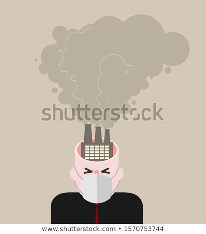 Open head Smoke plants. Man in mask from dust. Guy in respirator Stock photo © MaryValery