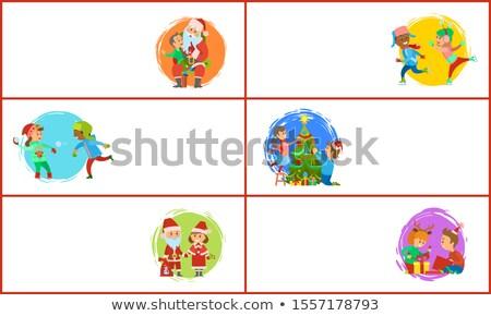 Stok fotoğraf: Noel · baba · kostüm · kutu · ayarlamak · çocuklar