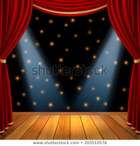 red stage curtain with black border stock photo © adamson