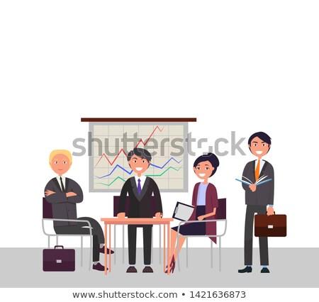 Incontro di lavoro promo banner abiti in giro tavola Foto d'archivio © robuart
