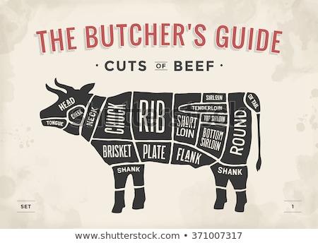 gesneden · vlees · ingesteld · poster · slager · diagram - stockfoto © marysan