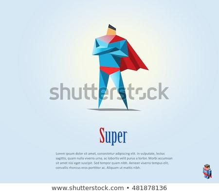 Repülés szuperhős modern rajzolt emberek karakter illusztráció Stock fotó © Decorwithme
