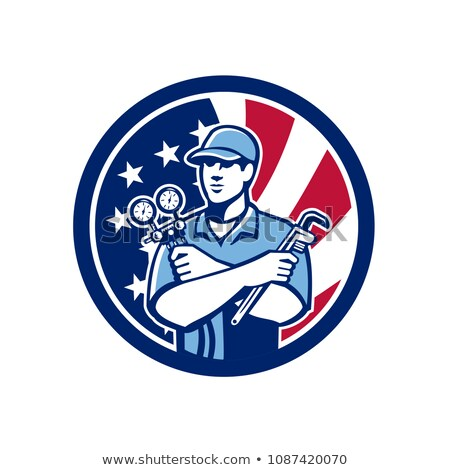 american air con serviceman usa flag icon stock photo © patrimonio