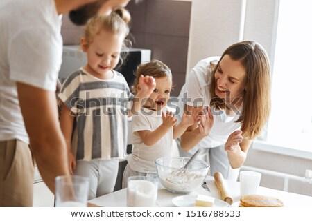 Gyönyörű család apa kicsi lánygyermek piknik Stock fotó © deandrobot