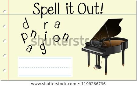Varázsige angol szó zongora illusztráció iskola Stock fotó © bluering