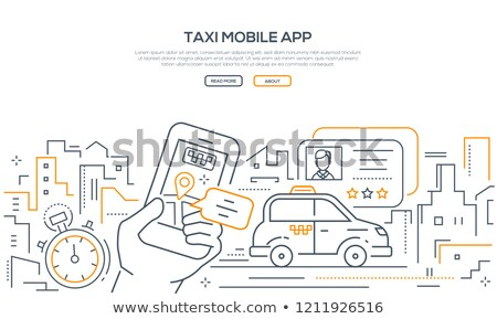 taxi mobile app   modern line design style banner stock photo © decorwithme