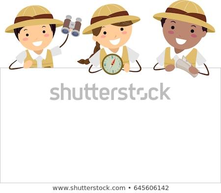 Gyerekek felfedező tábla illusztráció jelmez tart Stock fotó © lenm