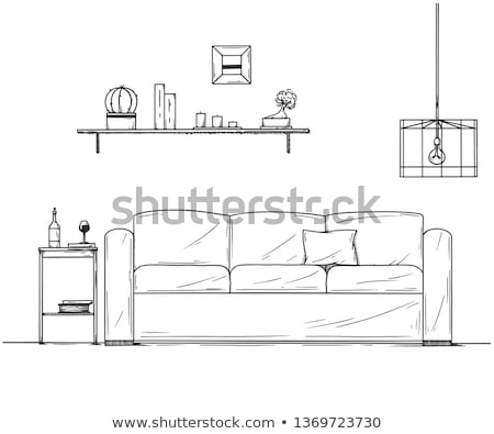 sketch of the interior a table a bedside table a shelf with various interior items can be used a stock photo © arkadivna