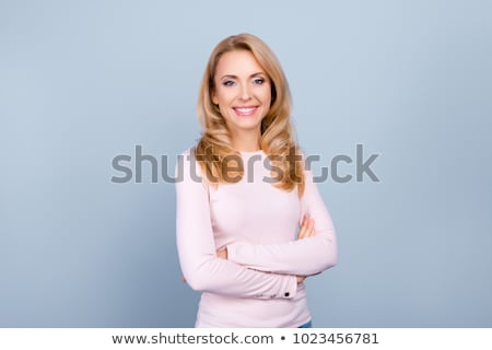 derűs · bájos · fiatal · nő · kockás · póló · pózol - stock fotó © acidgrey