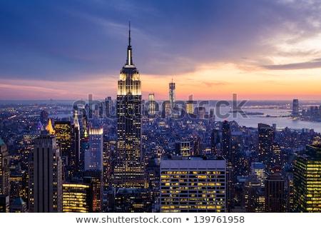 Vue Manhattan nuit ciel bureau bleu Photo stock © vwalakte