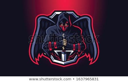 Angry Cartoon Black Knight Stock photo © cthoman