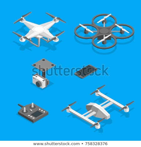 drone with camera isometry isolated unmanned aerial vehicle stock photo © maryvalery