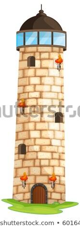 кирпичных башни Windows иллюстрация двери фон Сток-фото © colematt