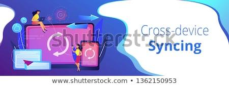 Szalag fejléc felhasználó laptop okostelefon operáció Stock fotó © RAStudio