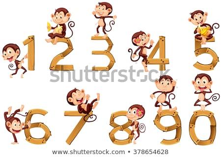 Stock fotó: Szám · négy · öt · majmok · illusztráció · művészet