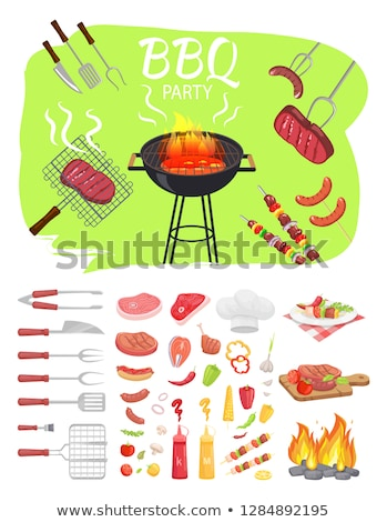 Brush BBQ Food Cutlery Icon Vector Illustration Stock photo © robuart