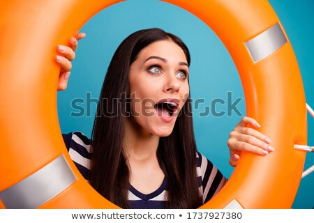 Happy young brunette woman open smile by the sea  Stock photo © dashapetrenko