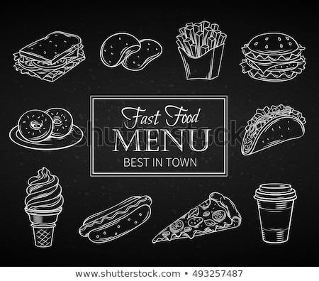 Sültkrumpli üdítő monokróm rajz stílus ikon gyűjtemény Stock fotó © robuart