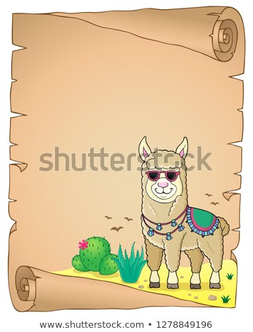 Llama with sunglasses theme parchment 2 Stock photo © clairev