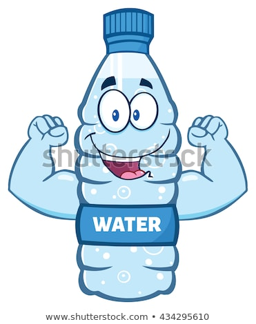 cartoon illustation of a water plastic bottle mascot character working out with dumbbells stock photo © hittoon