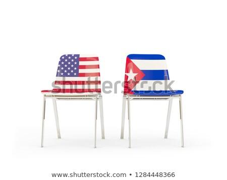 Dwa krzesła flagi Kuba odizolowany biały Zdjęcia stock © MikhailMishchenko