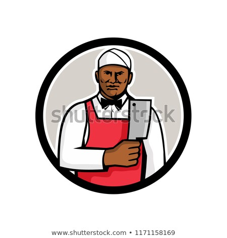 African American Butcher Circle Mascot Stock photo © patrimonio