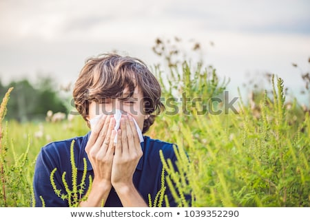 Young man sneezes because of an allergy to ragweed Stock photo © galitskaya