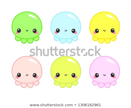 Octopus fun logo. Baby and kids goods. Kawaii baby octopus on white background. Vector adorable octo Stock photo © bonnie_cocos