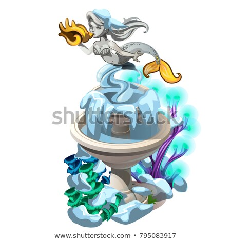 Frozen fancy fountain with a stone mermaid with golden seashell isolated on white background. Vector Stock photo © Lady-Luck