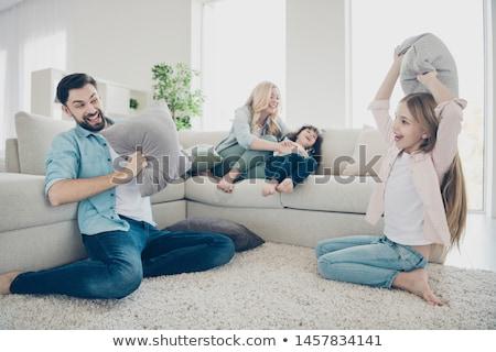 幸せな家族 母親 父から息子 娘 犬 ペット ストックフォト © robuart