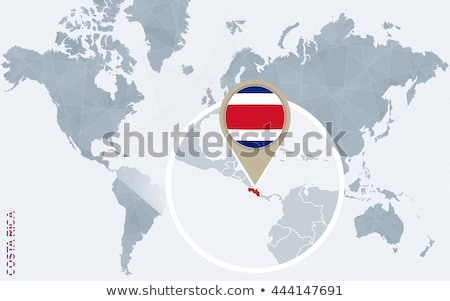 Costa Rica map located on a world map with flag and map pointer or pin. Infographic map. Vector illu stock photo © kyryloff