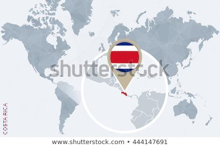 Kostarika · harita · dünya · haritası · bayrak · pin - stok fotoğraf © kyryloff