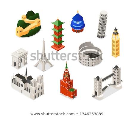 Wereld beroemd kleurrijk isometrische ingesteld objecten Stockfoto © Decorwithme