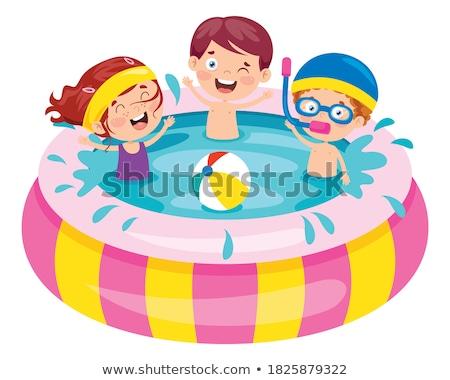 Foto stock: Desenho · animado · menino · natação · água · ilustração