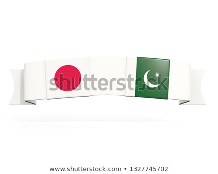 баннер два квадратный флагами Япония Пакистан Сток-фото © MikhailMishchenko