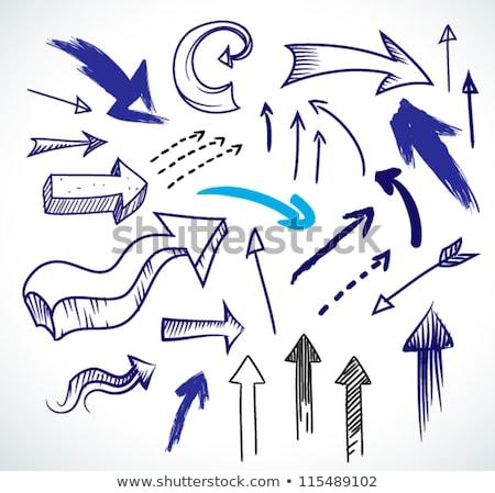 Blauw potlood pijl ingesteld illustratie graffiti Stockfoto © Blue_daemon